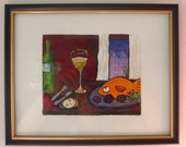 Fish Supper. Original framed 9x11 by artist Christina Glaser. so CUTE fun and whimsical