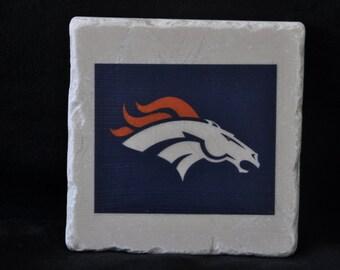 Denver Broncos Coasters Set of 4 handcrafted