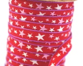 Woven Ribbon red with white Stars, 1 cm width, 2 Meters (2.18 yard)