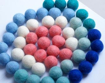 100% Wool Felt Balls, multicolor  shades, 50 pcs, 1 inch (2.5 cm), pure wool, Mix Ozean