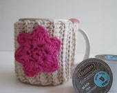 Crochet Mug Cup Cozy - Pink Flower in Natural Cotton