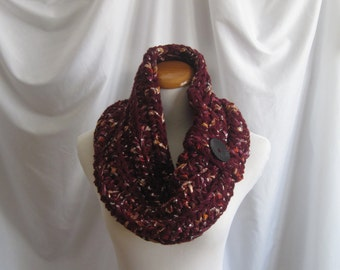 Cowl Chunky Button Bulky Crochet Cowl: Burgundy with Shimmery Fabric and Black Button