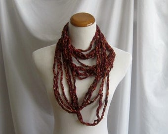 Infinity Crochet Scarf Cowl Necklace - Hues of Russet, Plum, Burgundy and Brown