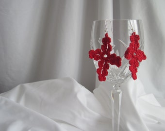 Lacy Crochet Cross Earrings in Red with Silver Plated Ear Wire
