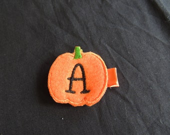The Hair Bow Factory Pumpkin Letter Boutique Hair Clip with Felt Pumpkin With Letter