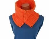 crochet neckwarmer,  versatile braided neon orange