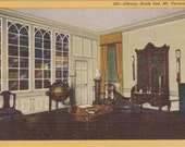 Library, South End, Mount Vernon, Virginia  - Vintage Linen Postcard - Unused