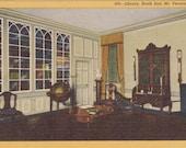 Library, South End, Mount Vernon, Virginia  - Vintage Linen Postcard - Unused