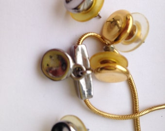 Vintage Minimalist Gold and Silver Circle Necklace and Earrings