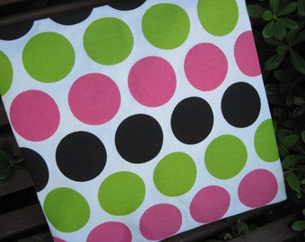"14"" x 14"" Home Decor Cotton PILLOW COVER- Giant Polka Dots Lime Green Cotton Candy Pink"