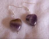 Chevron Amethyst Heart Earrings - Silver Jewelry