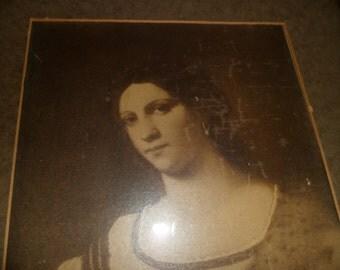 Framed Portrait of Renaissance Woman Sepia Tone Print