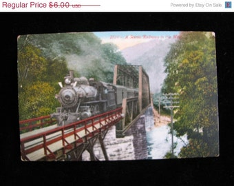 antique Post Card 1913  Railroad In The West