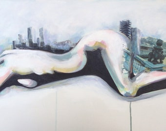 Art print of original mixed media figure painting, nude skyline cityscape - While She sleeps - By Rikki Sneddon