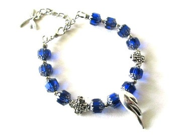 Cobalt blue bracelet jewelry - Royal blue beaded bracelet wing with cross antiqued silver - blue cathedral czech beads
