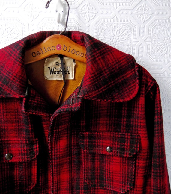 Woolrich Plaid Coat Red And Black Hunting Jacket Lumberjack