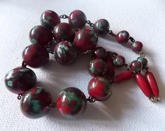 Vintage Murano Czech Red Blue Large Glass Beads Necklace REDUCED
