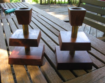 Midcentury Wood and Brass Candle Sticks