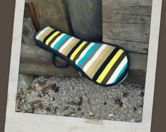 Soprano ukulele case - Multi colour stripe ukelele case with hidden pocket (Made to order)