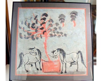 Chinese Water Color Horses Old  Script characters