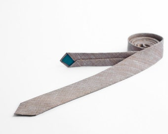 Brown chambray tie, skinny tie, MADE TO ORDER