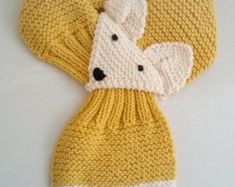 Adjustable Fox Hand Knit Scarf / neck warmer for Kids or Adult Sunflower/Mustard