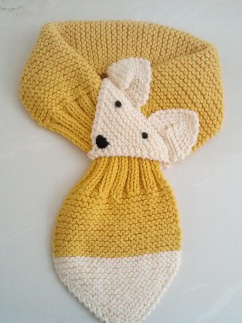 Knitting Pattern For Toddler Neck Warmer : Adjustable Fox Hand Knit Scarf / neck warmer for Kids or Adult