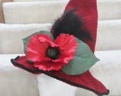 red poppy witch hat