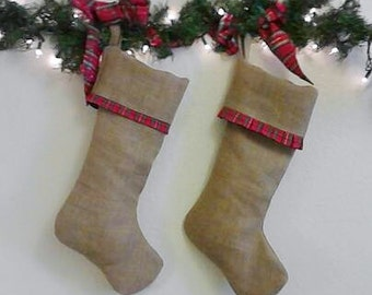 His and Hers Burlap Christmas Stockings, Red Plaid Pleated Ruffle and Straight Band - Fully Lined