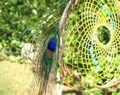Dream Catcher for Good Fortune - Turquoise and Peacock Feathers