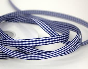 "3/8"" Gingham Ribbon - Royal Blue - 25 yard Spool"