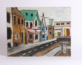 Street Scene Painting, Mid Century Streetscape, Colorful Buildings,  Tempera on canvas board