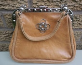Vintage Tan Leather Handbag with Silver Detail
