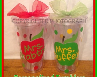 2 Personalized Acrylic Tumblers with APPLE and TEACHER'S NAME with Polka Dots Great Teacher Gift