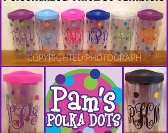 6 Personalized VINO 2 GO Wine To Go Acrylic Tumblers Wine Glass Sippy Cup Name Initial Monogram Polka Dots for picnics tailgates weddings