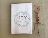 Joy Holiday Tea Towel Printed in Red and Green /Kitchen Flour Sack Towel/ Cotton Towel /Home Decor