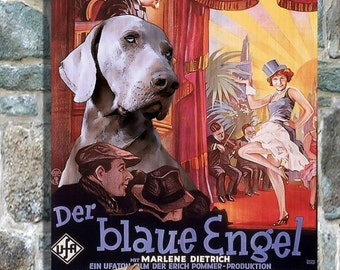 Weimaraner Vintage Movie Style Poster Canvas Print  New Collection by Nobility Dogs