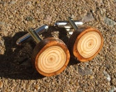 Handmade Wooden Cufflinks. Gift Boxed.  Larch Organic, Eco Friendly Natural Wood Cufflinks