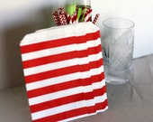 Red and White Bold Stripe treat bags, party bags, red and white party bags, red and white candy bar buffet bags, red stripe bitty bags