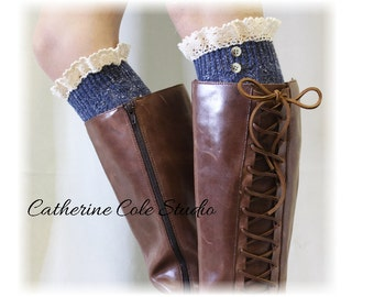 NORDIC WOODS in Vintage Blues Tweed knit  Boot socks tall boot socks leg warmers  knee socks womens lace socks  Catherine Cole Studio BKS2BL