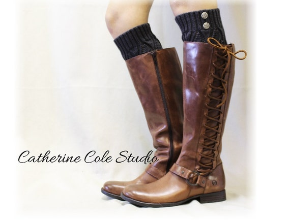 Leg warmers knit legwarmers leg warmers boots womens leg warmers crochet knit OPULENT ELEGANCE Charcoal Grey Catherine Cole Studio LW18