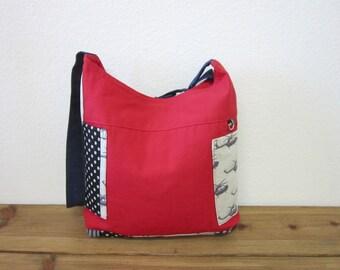 Red canvas Echiko scooter cross shoulder bag/Back to school bag/crossbody bag ipad bag/messenger bag/Christmas gift - Ready to ship