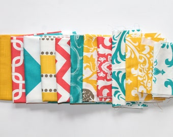 60% OFF! Fabric Scraps SALE- Premier Prints Fabric Remnants- Corn Yellow, Coral, and True Turquoise Home Decor Fabric, Cotton Pieces, Swatch