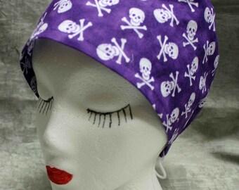 Purple Skull and Crossbones Cap (biker/chemo/surgical)