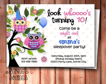 OWL INVITATION - for Birthday Party or Slumber Party or Baby Shower - Customized - DIY Party Printables