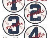 Baseball Monthly Milestone Stickers Vintage Blue Red Instant Download DIY Printable BONUS Just Born, 1-3 Weeks and Reminder Stickers LDD-022