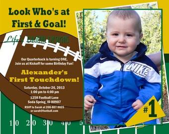 Football Birthday Invitation with Photo 6x7.5 (Costco size) Green Yellow Customizable Printable