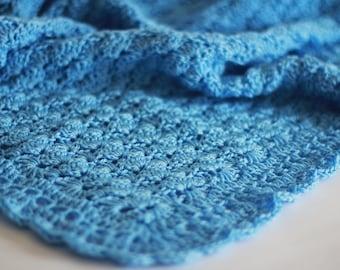 Crochet Baby Blanket / Afghan, Handmade Crochet Blue Baby Blanket, Baby Shower Gift