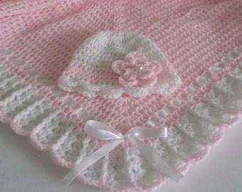 Crochet Baby Blanket / Afghan and Hat  Light Pink White Christening, Baptism, Baby Girl Granny Square Crochet Blanket, Gift