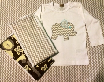 Baby Boy Burp Cloth Set made with Chevron Elephant Onesie or T-Shirt & Jungle Print